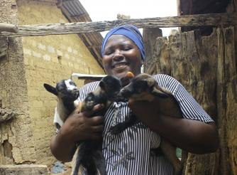 Isatu Bongay, one of the Women that benefited from the Livestock Supplied by ActionAid