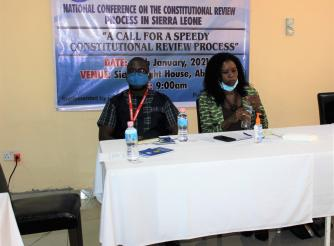 AASL Executive Director Foday Bassie Swaray (left) Valnora Edwin Director Campaign for Good Governance (CGG)
